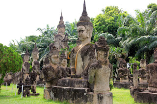 Buddhist statues in Buddha Park - Vientiane - Laos
