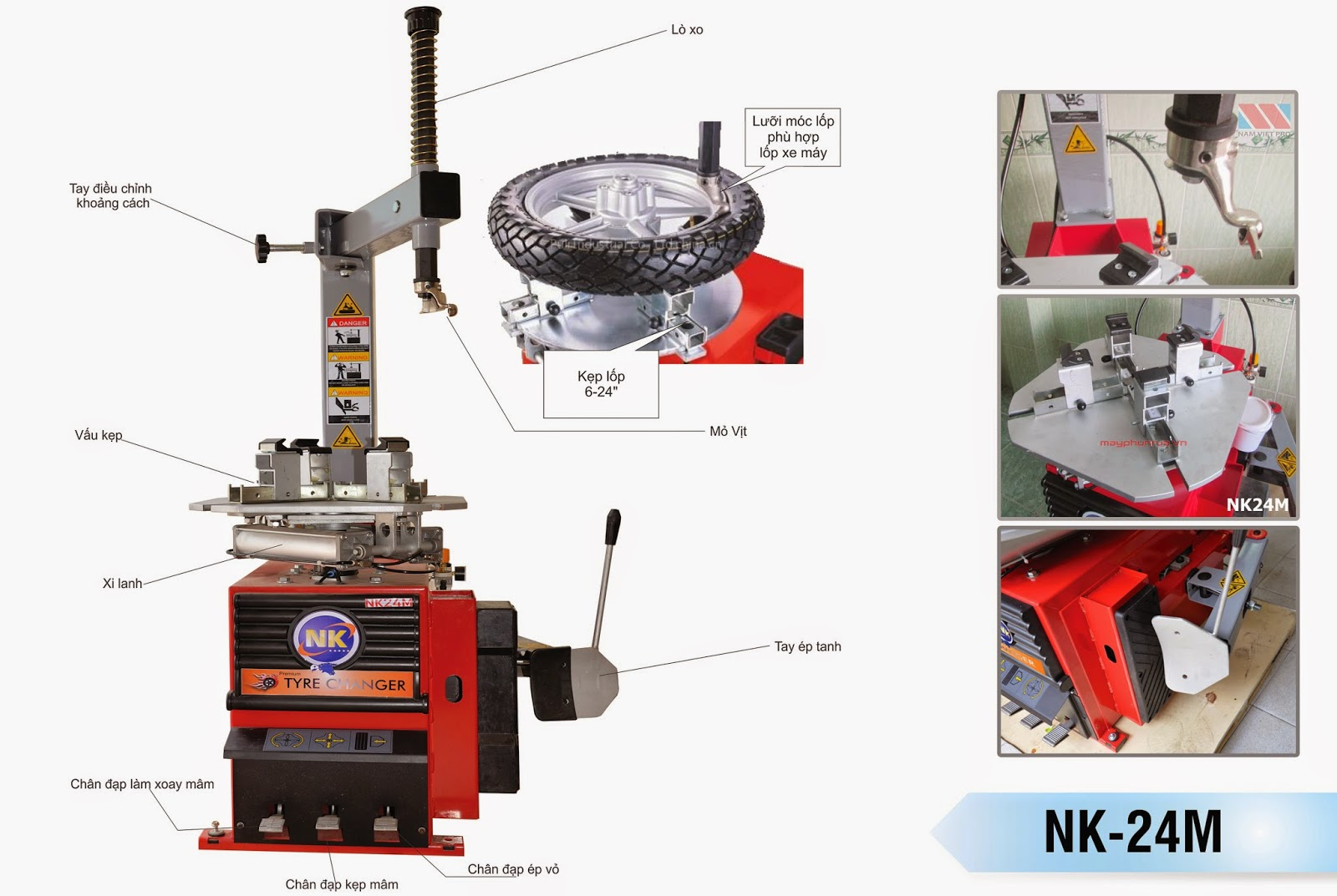 Máy ra vào vỏ, Máy tháo vỏ chuyên dùng xe tay ga NK24M