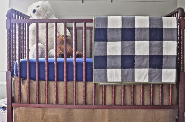 Outdoorsy, camping, boy scout nursery.  Gingham Quilt. Simple Bedding