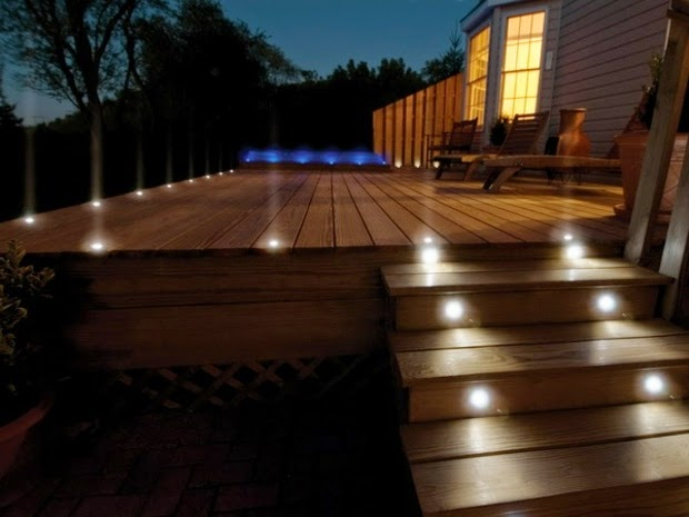 outside lighting ideas: terrace dotted with spotlights