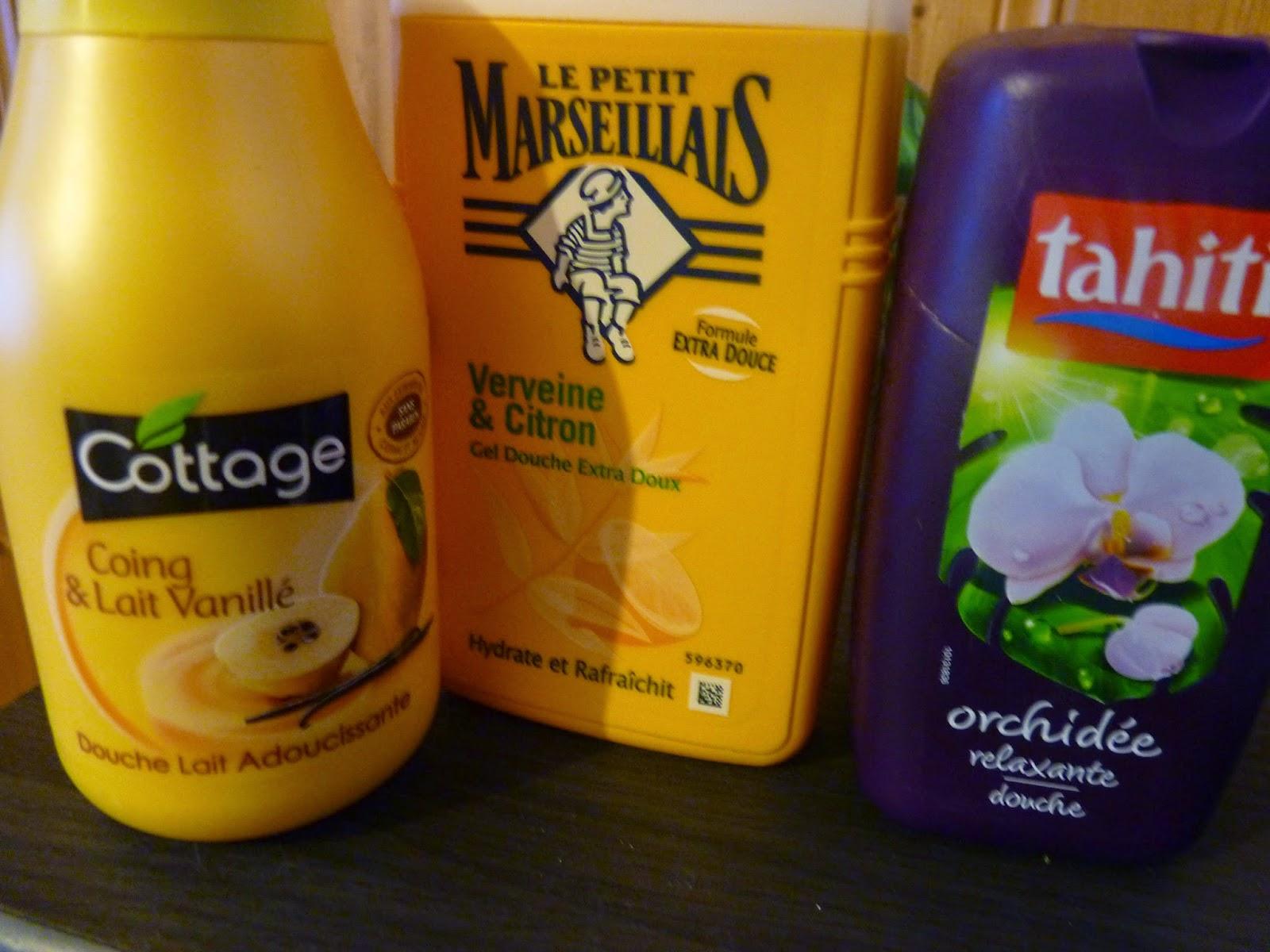lait vanillé coing, cottage, le petit marseillais, verveine citron, orchidée, tahiti, gel douche, grande surface, petit prix