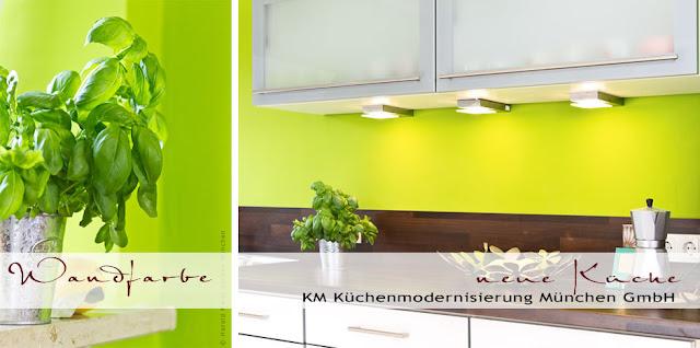 Eine junge, fröhliche Küche in Frühlingsfarben! Grüne Wandfarbe läßt den Frühling ins Haus!