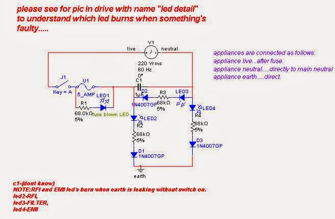 live neutral earth fault indicator circuit electronic circuit the above circuit can be much simplified and implemented using a just three leds and some resistors