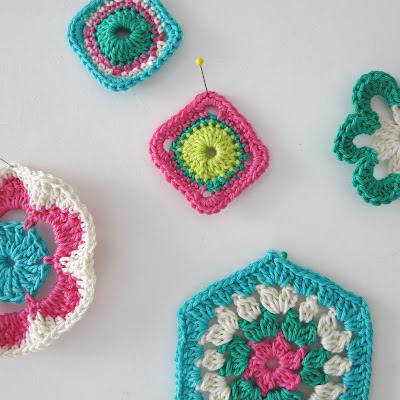 crochet, handmade, vegan yarn, cotton, little motifs, bright colours