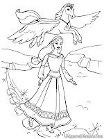 Gambar Barbie Dan Magic Pegasus Terbang Untuk Diwarnai