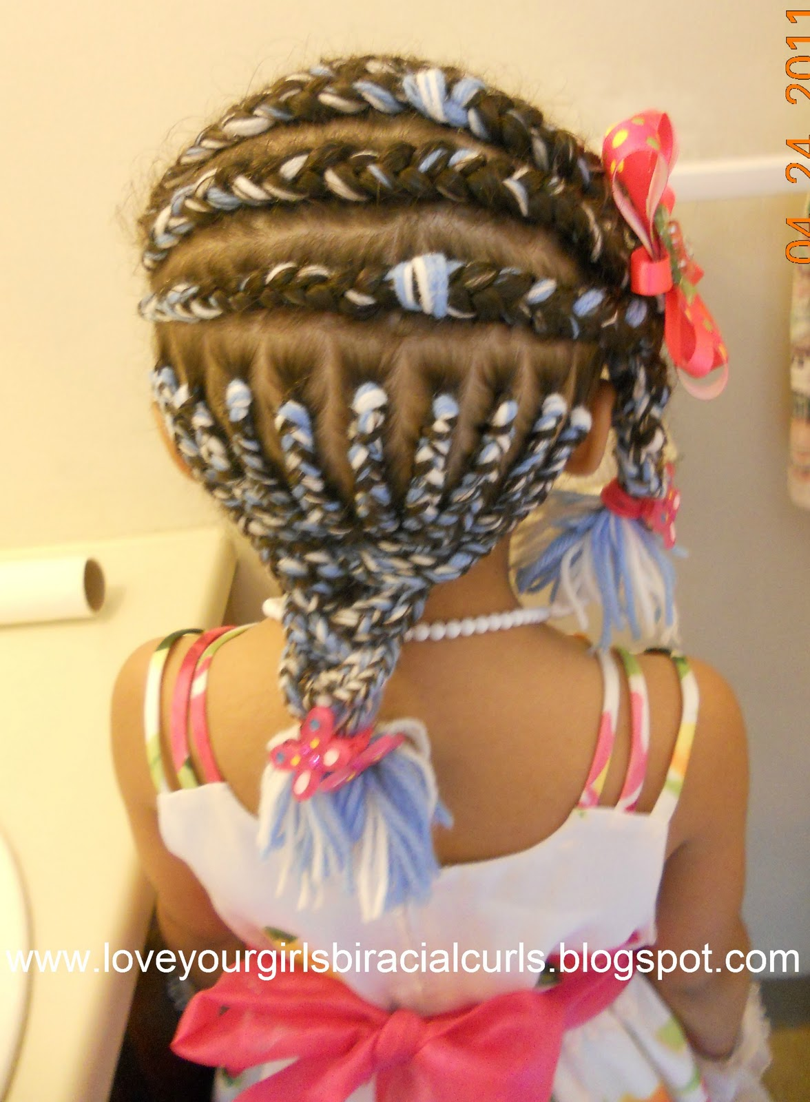 Then i braided one big braid from the side remaining cornrows and