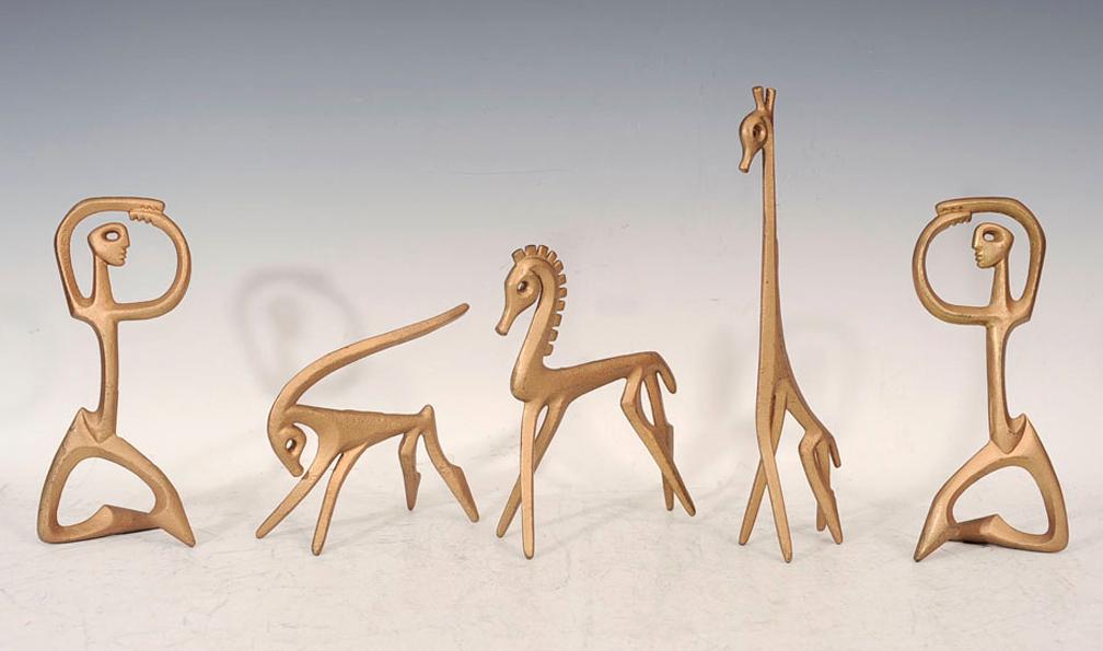 Gilded bronze animals and dancing figures via 1stdibs showplace