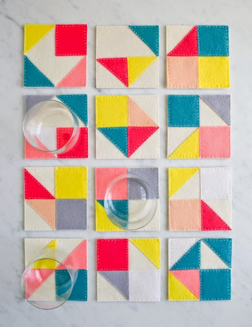 DIY sewing Geometric felt coasters