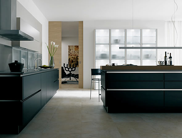 black kitchen accessories and lighting home interior