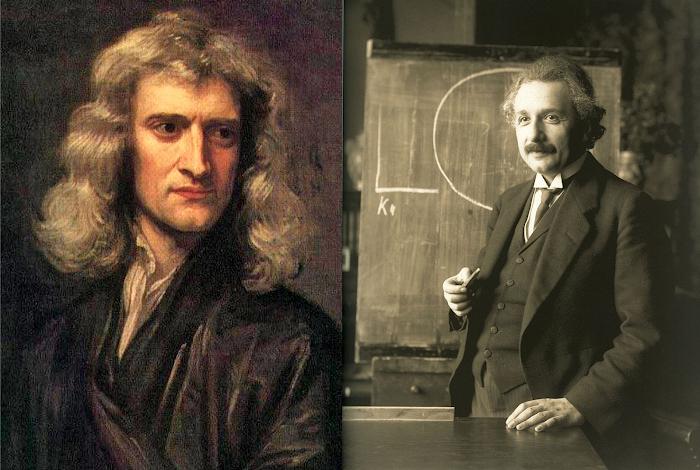 Isaac Newton và Albert Einstein. Tác giả : Họa sĩ Gottfried Kniller vẽ năm 1689/Nhiếp ảnh gia Ferdinand Schmutzer chụp năm 1921 ở Vienna.
