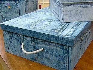 Cajas recicladas con motivo de jean, muy facil