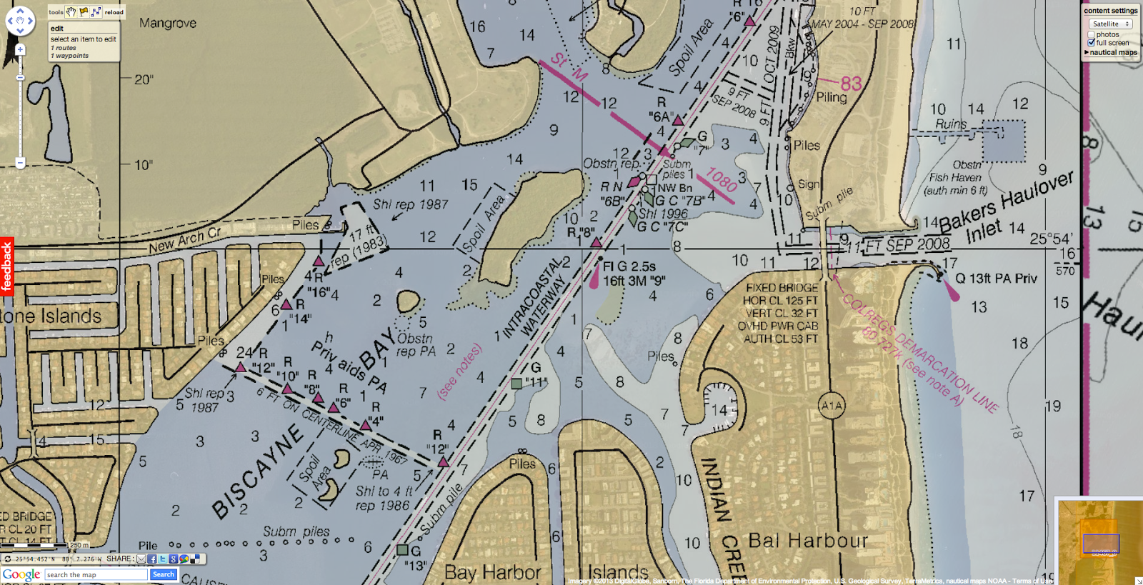 geogarage blog intracoastal waterway route magenta line on noaa