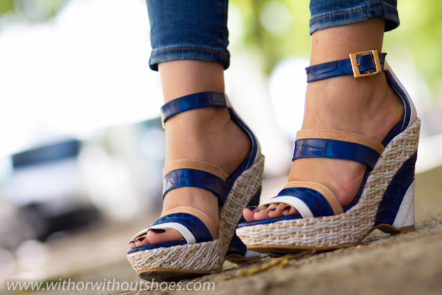 BLUE, WHITE and NUDE WEDGES by JOAQUIM FERRER