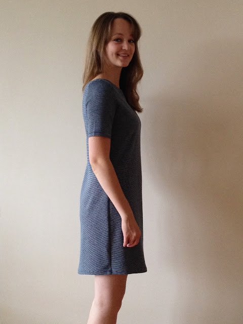 Diary of a Chain Stitcher: Seamwork Mesa Dress in Theory striped jersey from Mood Fabrics