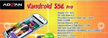 Advan Vandroid S5E Pro Harga Spesifikasi Seputar Dunia