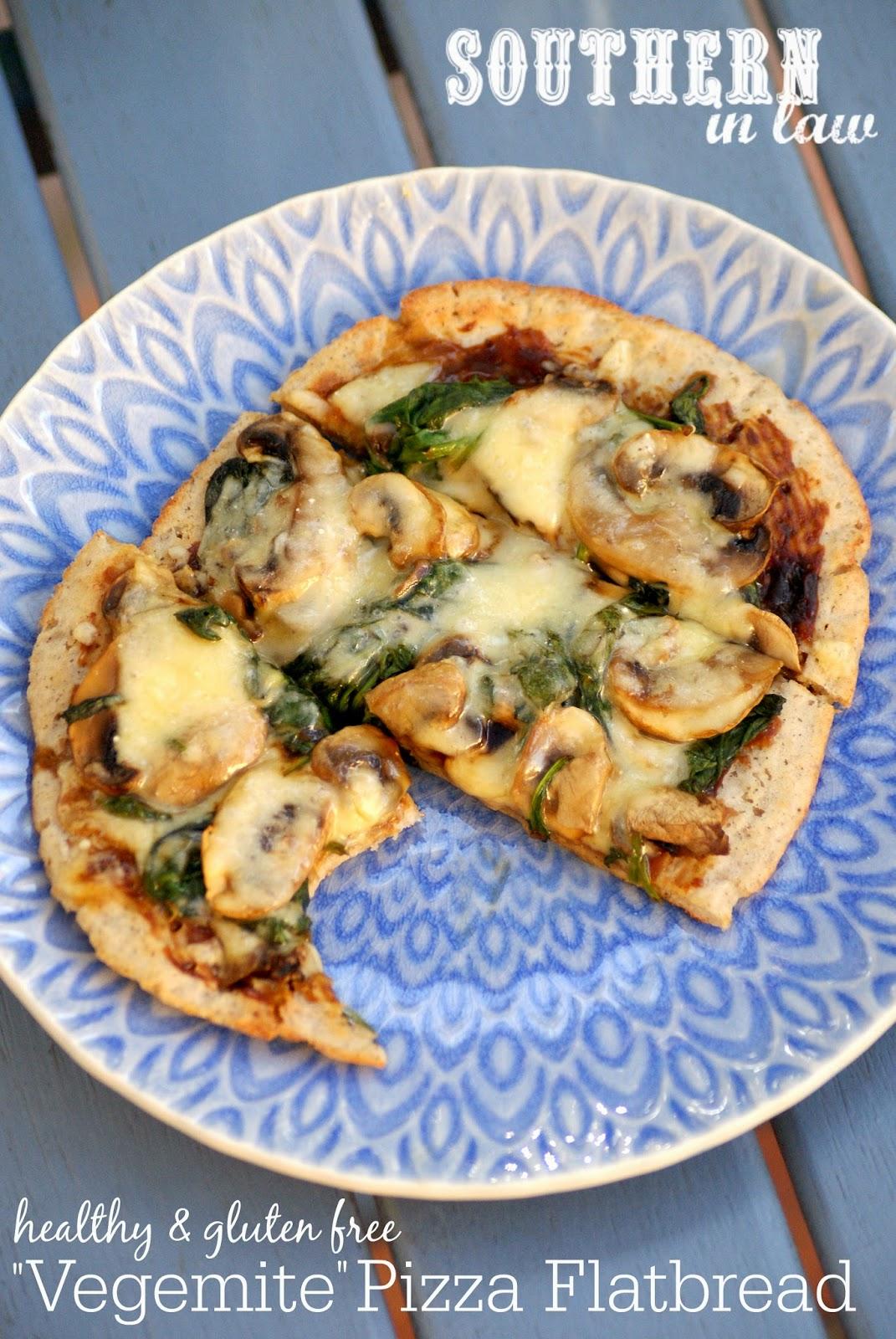 Healthy Vegemite and Cheese Pizza Flatbread Recipe - gluten free, low fat, sugar free, vegan, egg free, dairy free
