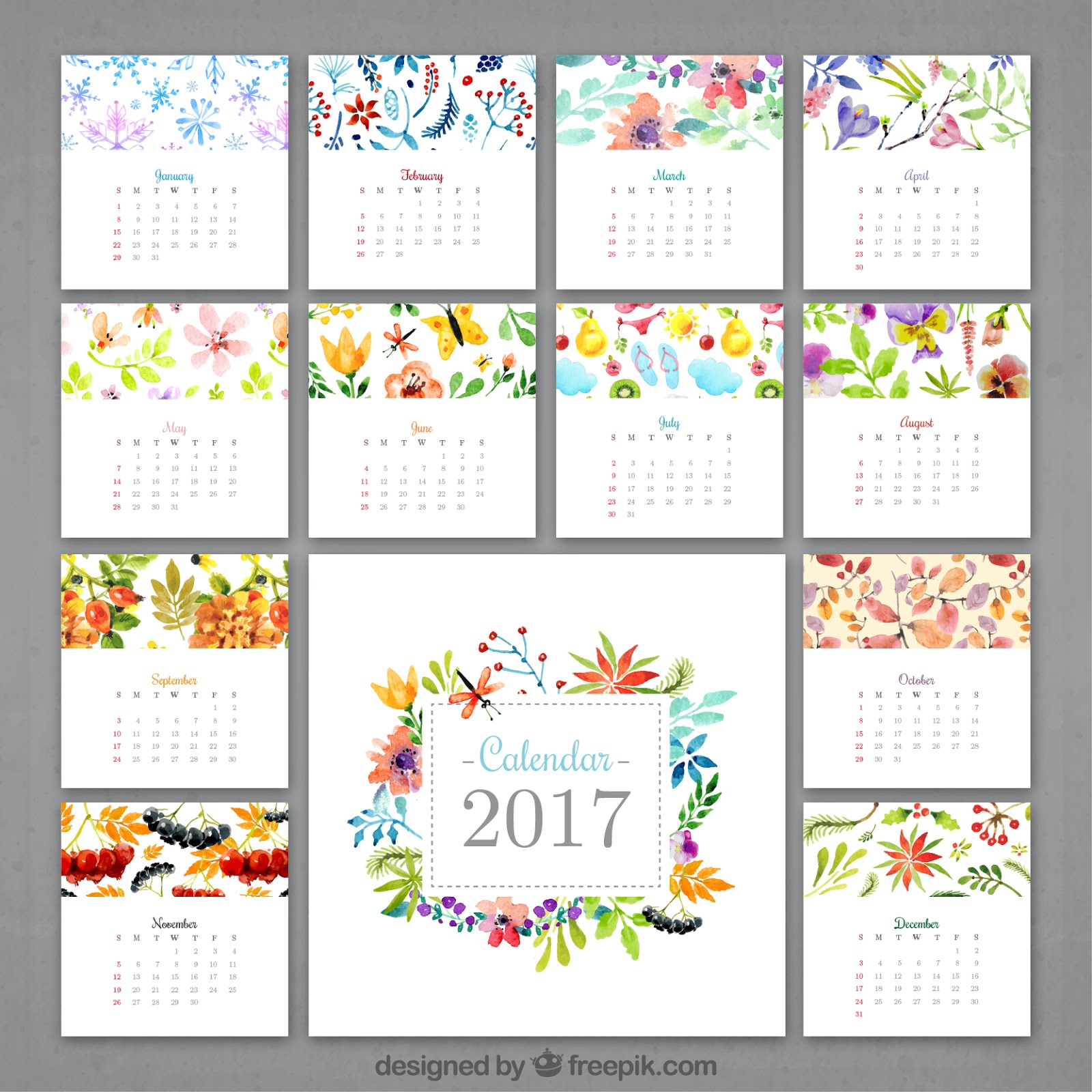 Calendar 2017 Vector Free Download New Template