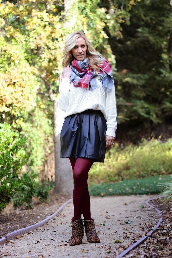 pleather skirt burgundy tights