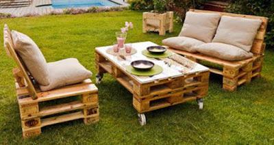 Jard n amueblado con muebles de palets - Cojines para sillones de jardin baratos ...