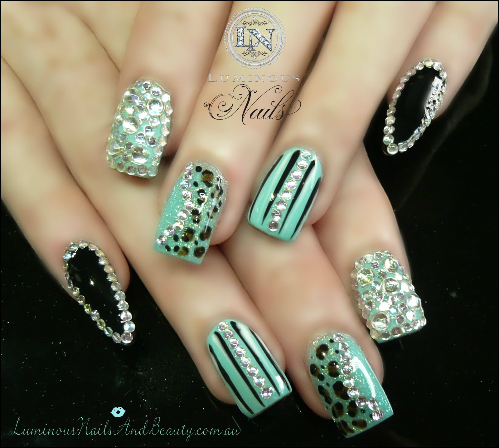 Black And White Pointy Nail Designs