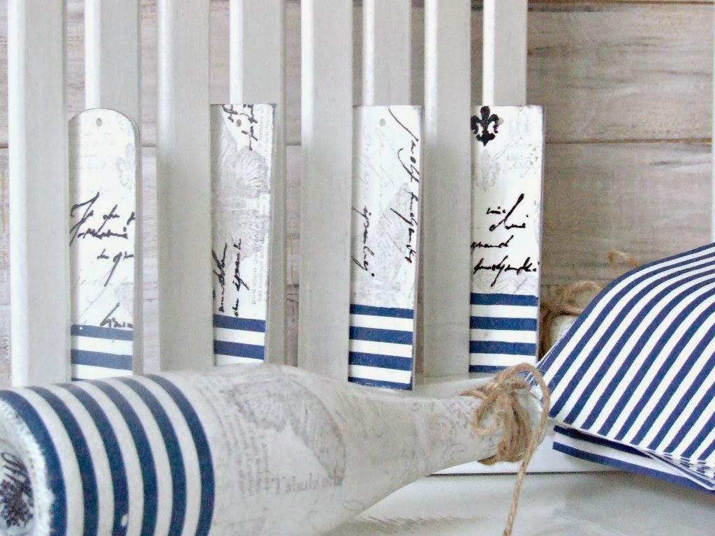 zakładka do książki decoupage z marynarskim motywem - inspiracja decoupage Eco Manufaktura