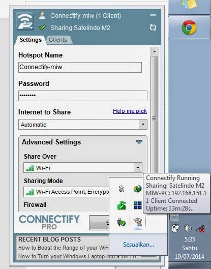Akses internet PC yang berasal dari modem bisakah di bagi/share ke android.  Dan inilah solusinya. Dengan Aplikasi connectify, semua itu ternyata bisa terjadi.  Pada prinsipnya, aplikasi connectify ini menciptakan sumber wifi baru (Hotspot). sehingga bukan hanya android saja yang bisa kita hubungkan. Tapi PC lain juga bisa dihubungkan, dan berinternet dengan bebas
