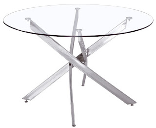 Mesa redonda acero y cristal