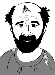 Gustav Klimt caricature by Ian Davy Brown