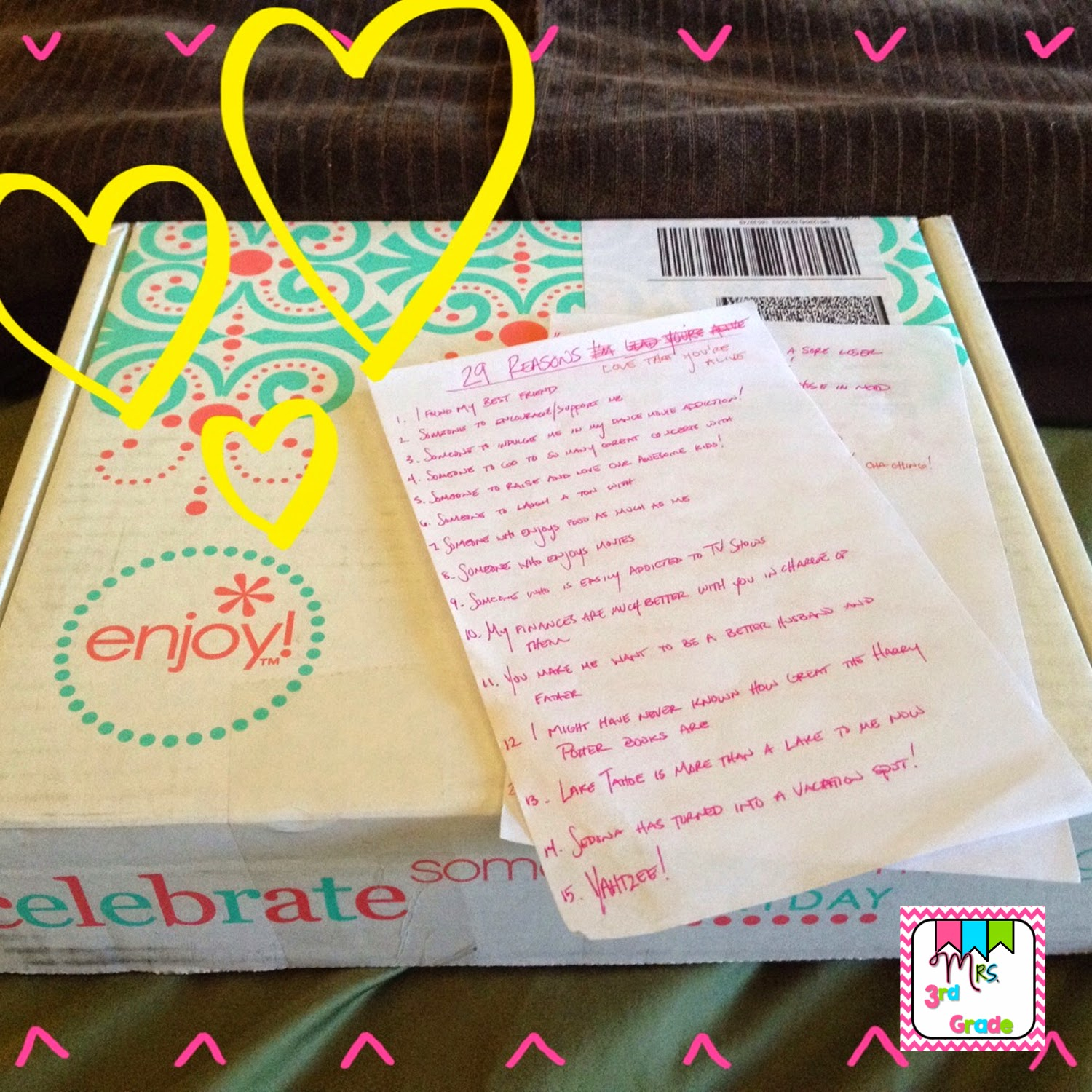 Mrs 3rd Grade's new life planner and sweet note from her hubby!