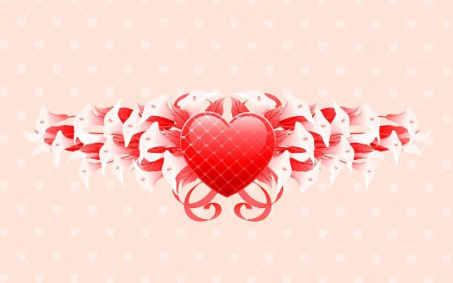 Afbeelding van een rood liefdes hartje met bloemen