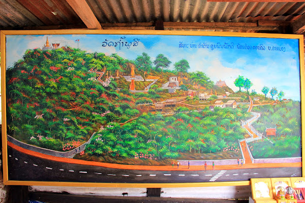 Map That Phu Si and Wat Tham Phu Si - Phou Si Hill