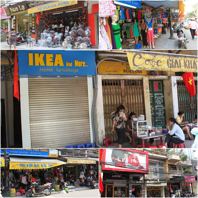 All kinds of shop businesses, including IKEA, can be seen in the downtown of Hanoi, Vietnam