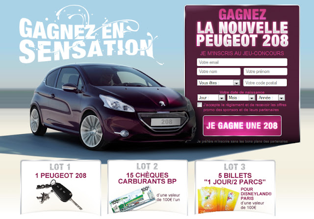 1 Peugeot 208 + 5 billets Disneyland + 15 chèques carburants
