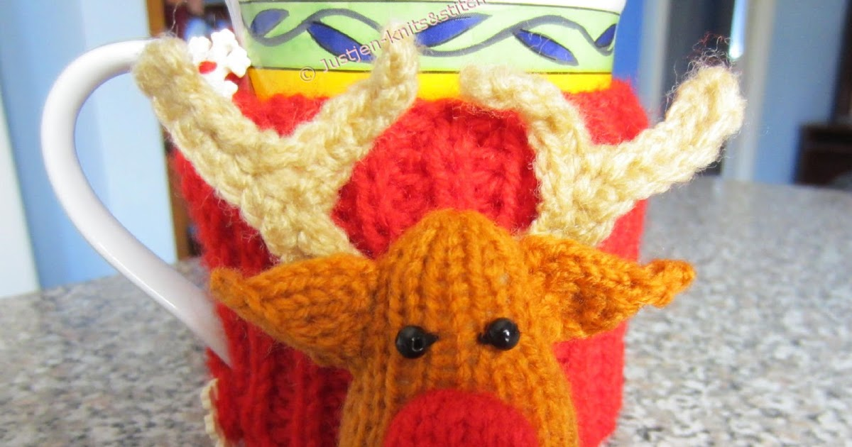Justjen Knitsstitches Reindeer Christmas Cup Cosy