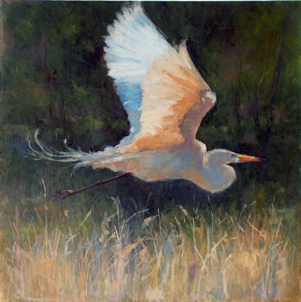 Deb kirkeeide great white egret original painting for White heron paint
