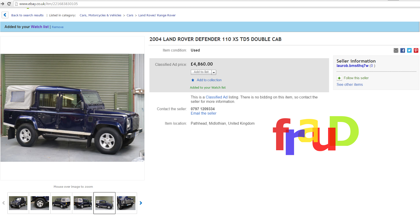Ebay scam : 2004 land rover defender 110 - yf04huh - fraud - yf04 ...