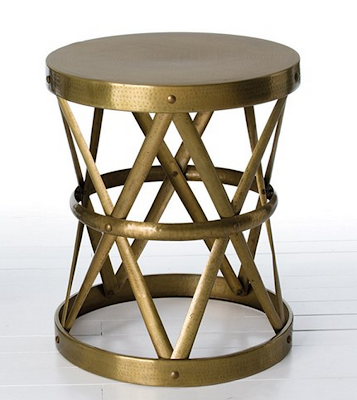 ZINC DOOR ARTERIORS COSTELLO ANTIQUE BRASS SIDE TABLE