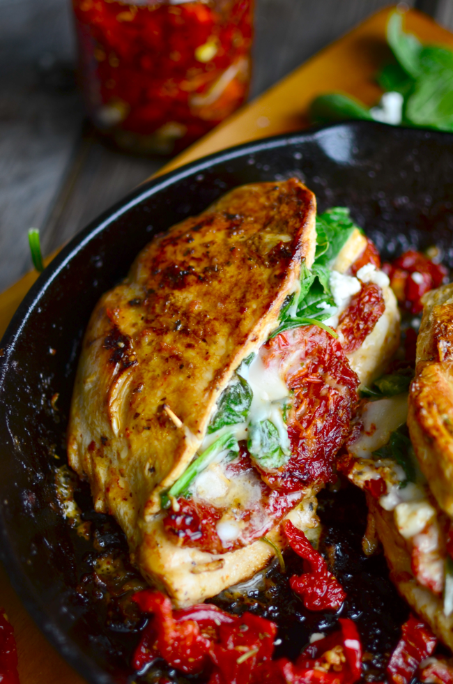 tomato spinach and cheese stuffed chicken two large chicken breasts ...