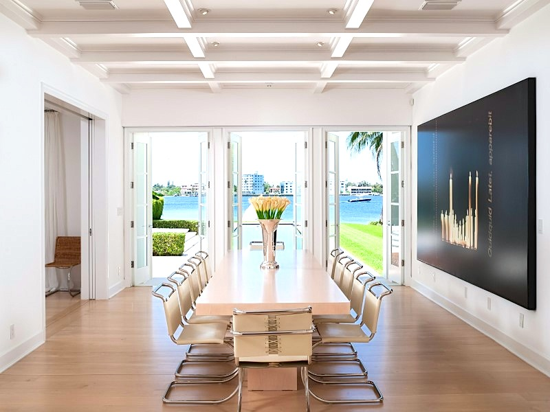 Contemporary dining room in multi million dollar Palm Beach home