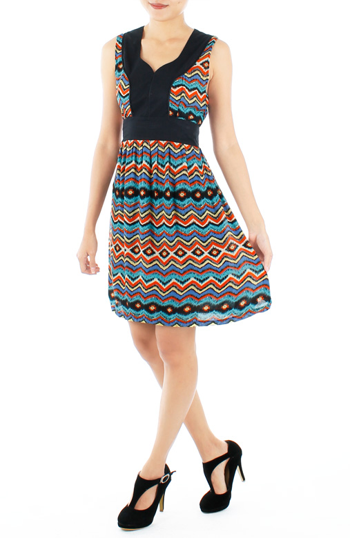 Orange Ikat Print Dress with Contrast Detail