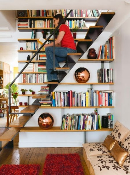 Stairs designs integrated into the library or vice versa stairs designs - Staircases with integrated bookshelves ...