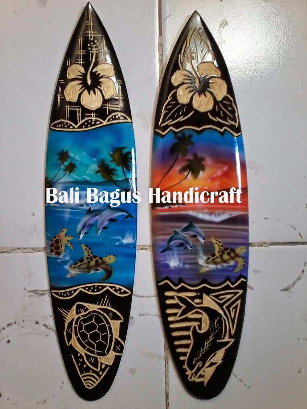 Bali Miniature Drum Djembe Carved Airbrush Sign Board Surf