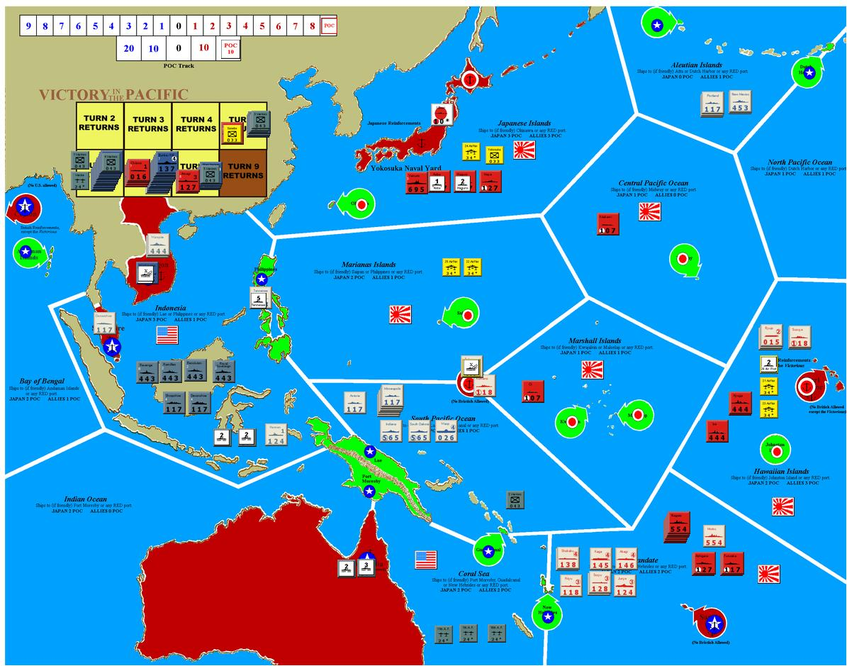 turn 5 june 1943 japan moved to set up the invasion of samoa the us had no choice but to respond by throwing every asset that could make it to the zone