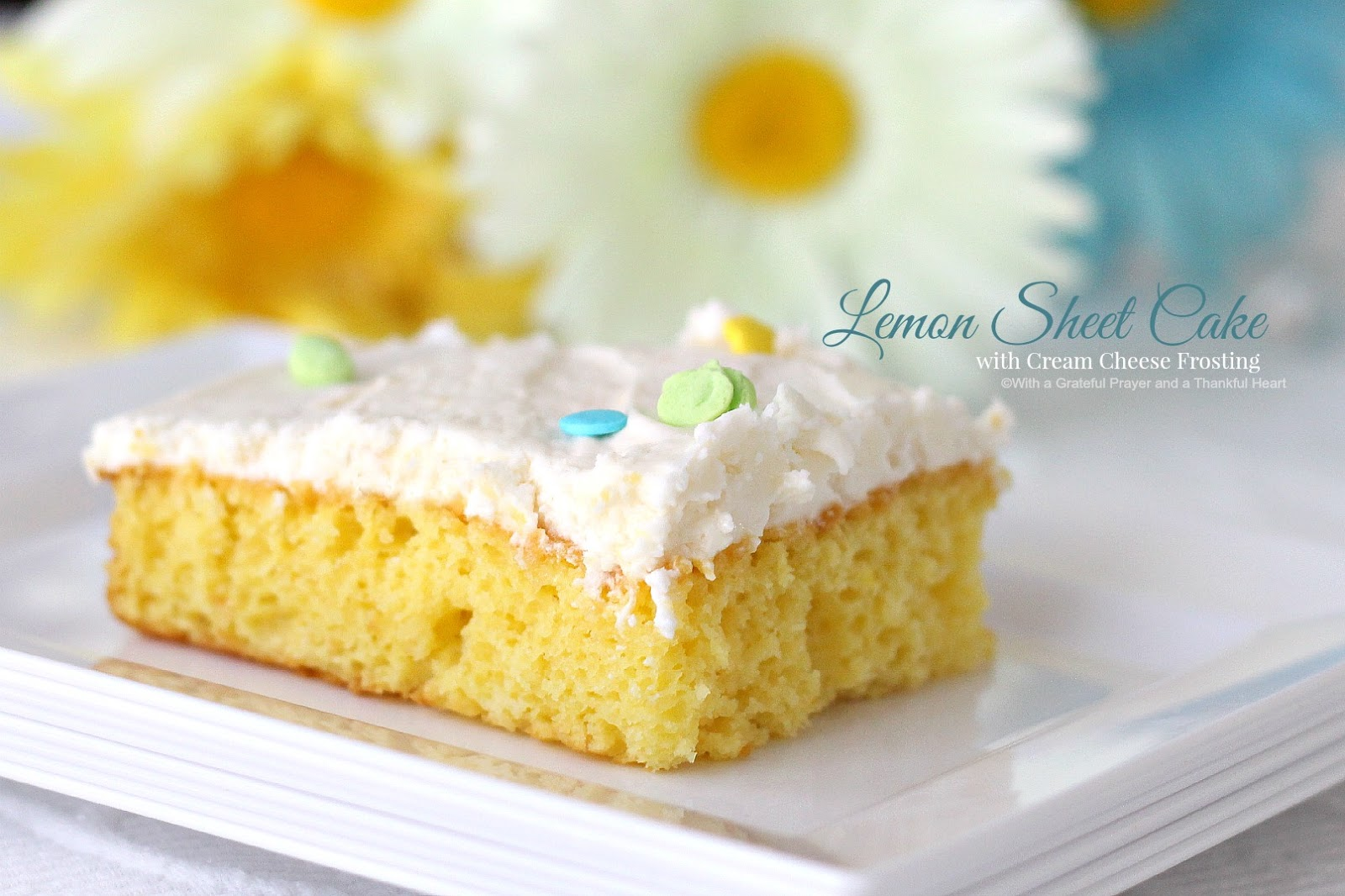 Cake With Cream Frosting : Lemon Sheet Cake with cream Cheese Frosting Grateful ...
