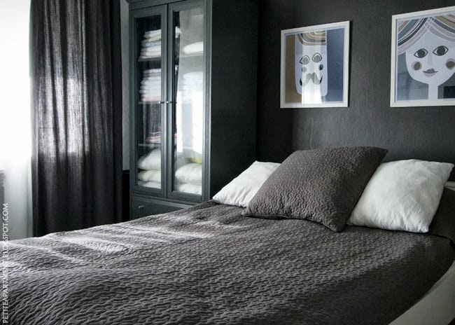 Dark black grey wall bedroom with grey curtains and alina ikea bedspread monochrome modern decor