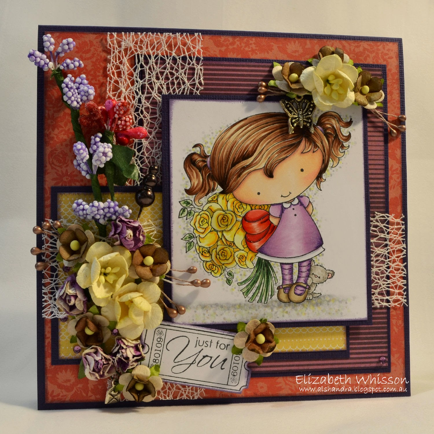Elizabeth Whisson, Copics, green tara lace, Live and Love crafts flowers, Basic Grey RSVP, Whimsy Stamps, Little Darling Rubber Stamps Candibean Wendy's Bouquet, Ticket Friendship Sentiments and die, handmade card