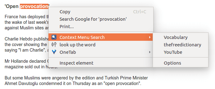 using context menu search to find the meaning of the word provocation