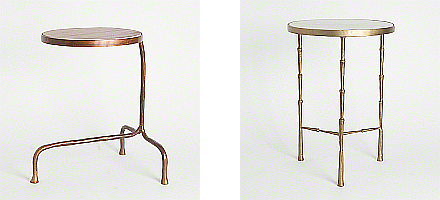 iron side tables with stone top
