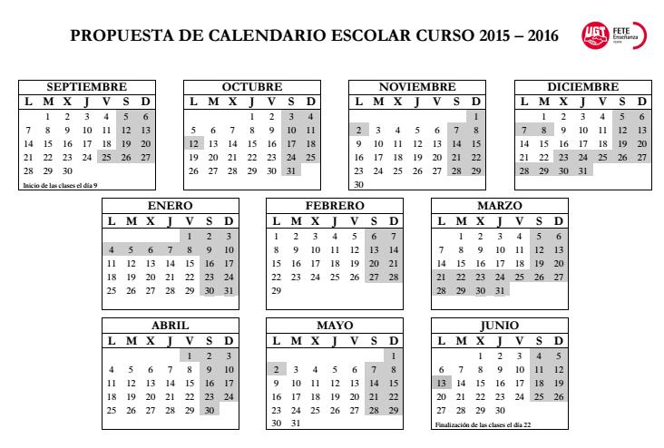 Propuesta de FETE-UGT respecto al Calendario Escolar 2015/2016