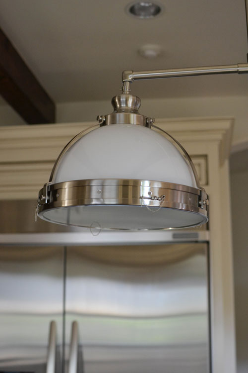 Casual glamorous before and after kitchen light fixture restoration hardware 14 clemson classic double pendant in satin nickel finish aloadofball Images